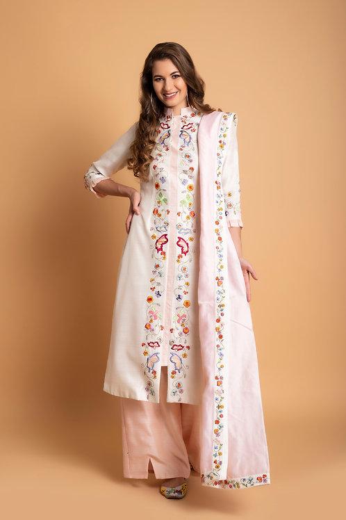 Off white & Blush Silk palazzo suit set