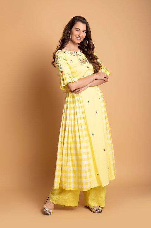 Yellow checks ruffle kurti