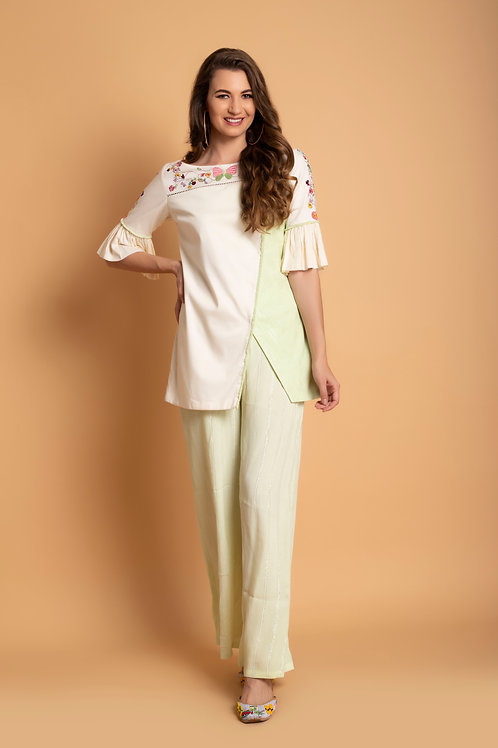 Off white front slit short kurti