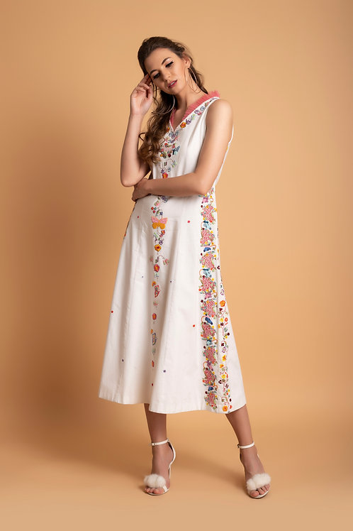 White A line butterly Dress