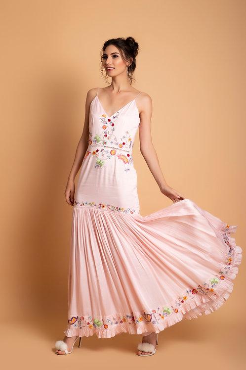 Blush Satin modal Long gathered dress