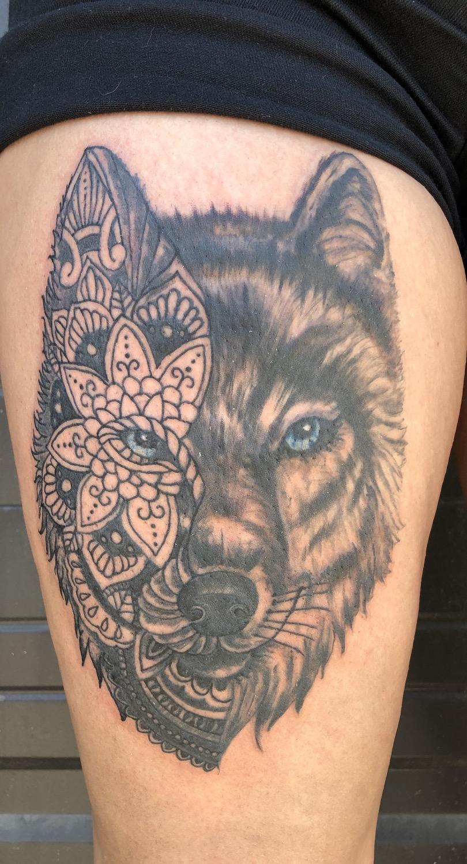 mandala wolf tattoo portrait