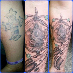 Native American theme tattoo cover