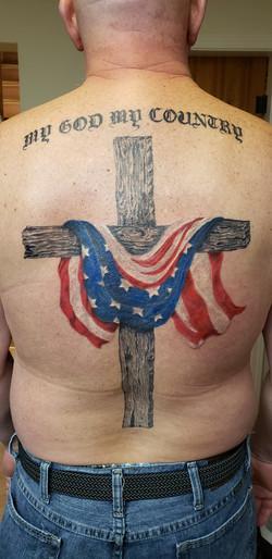 Realistic American flag tattoo design