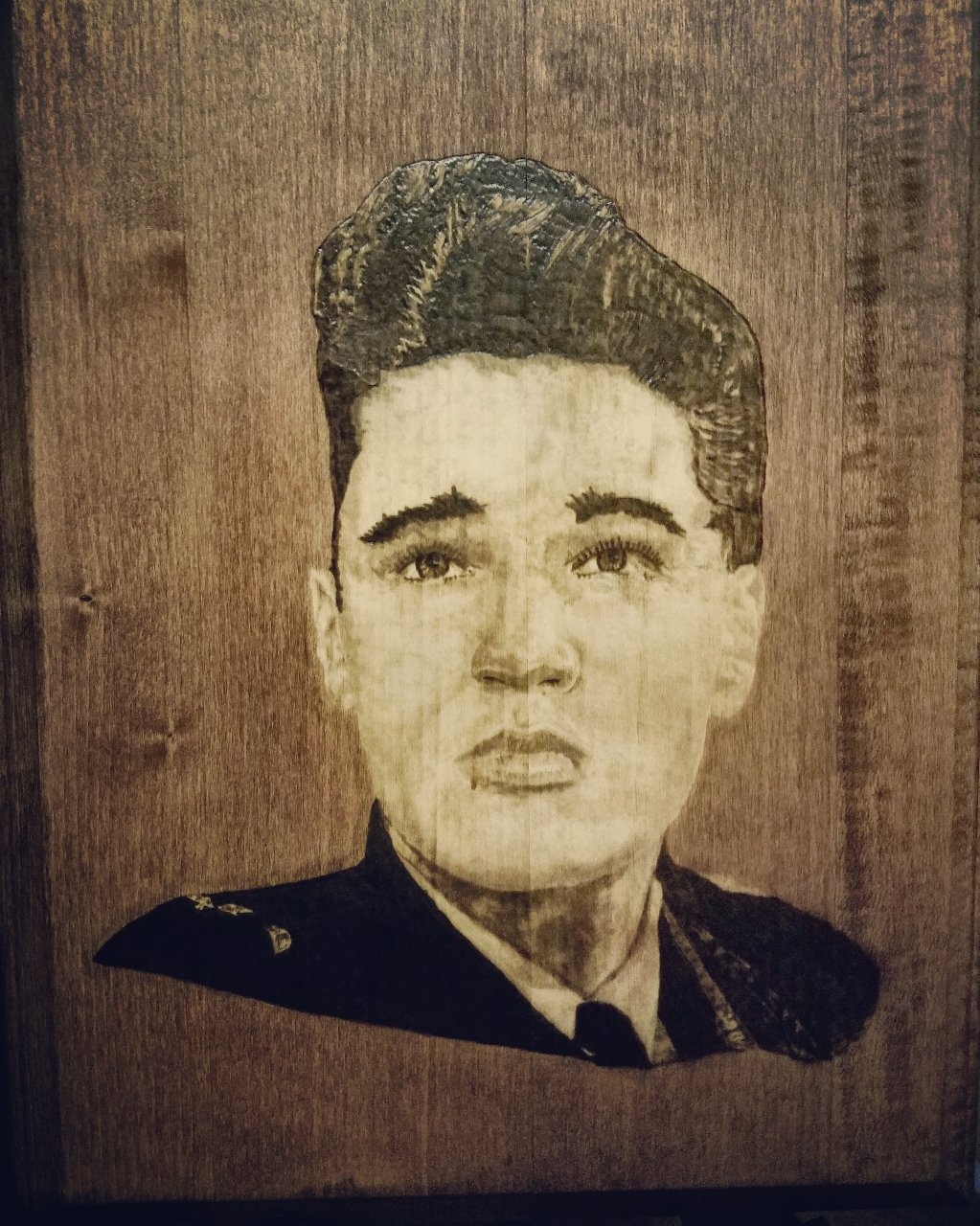 Elvis Presley wood burned