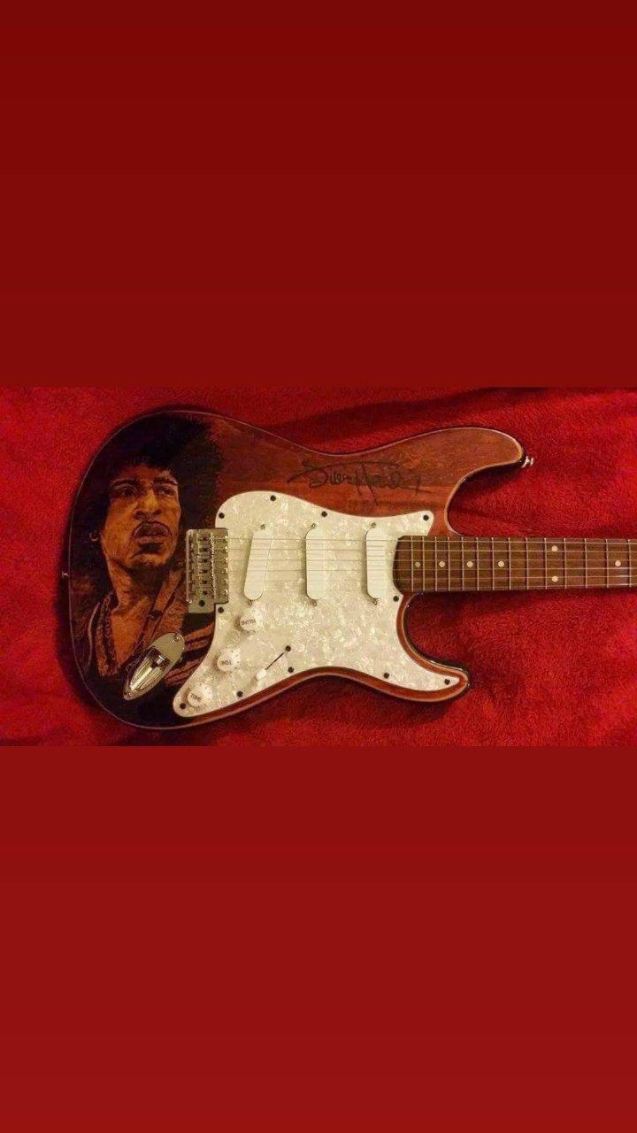 wood burning of Jimi Hendrix