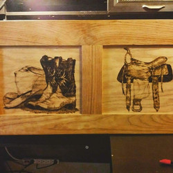 wild west wood burned on hope chest
