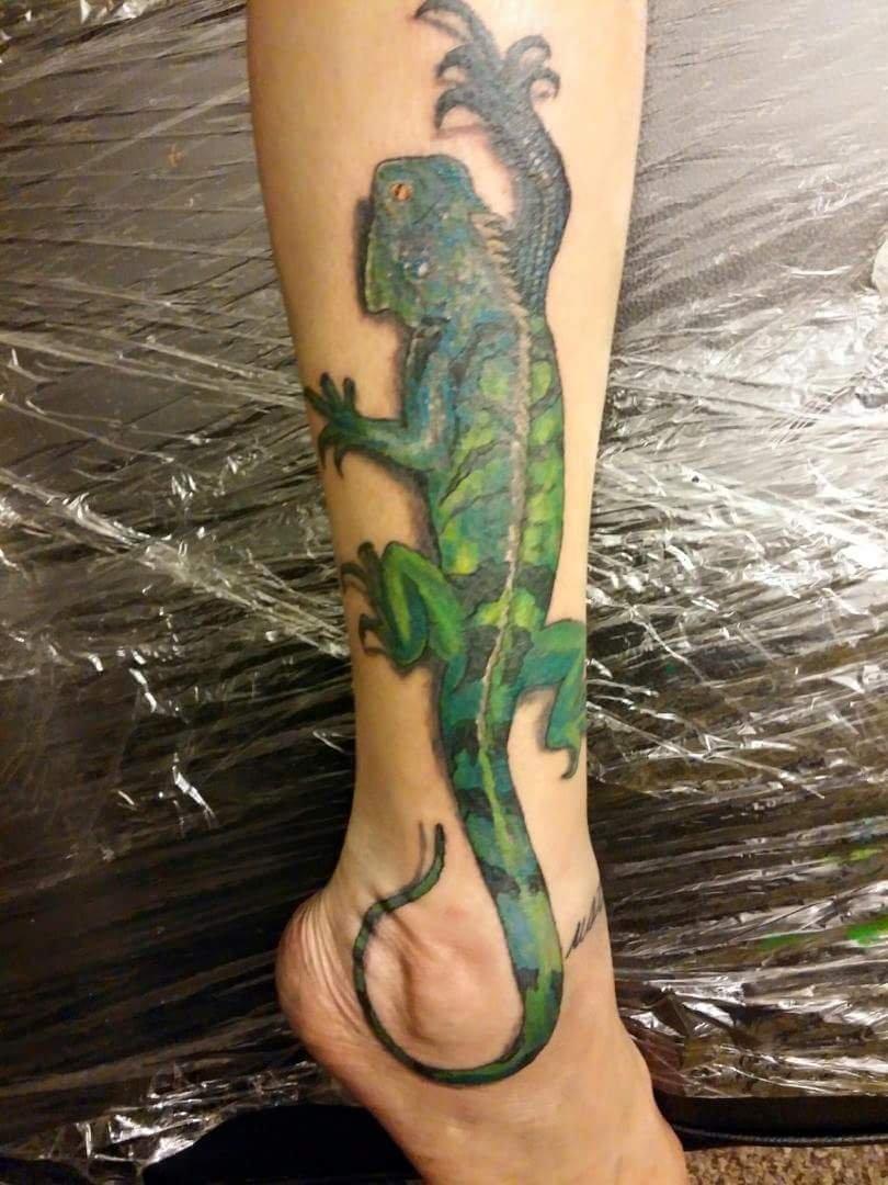 realistic iguana tattoo on calf