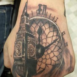 clock tower hand tattoo