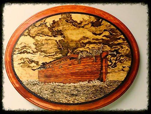 Noah's Arch wood burned on bass wood