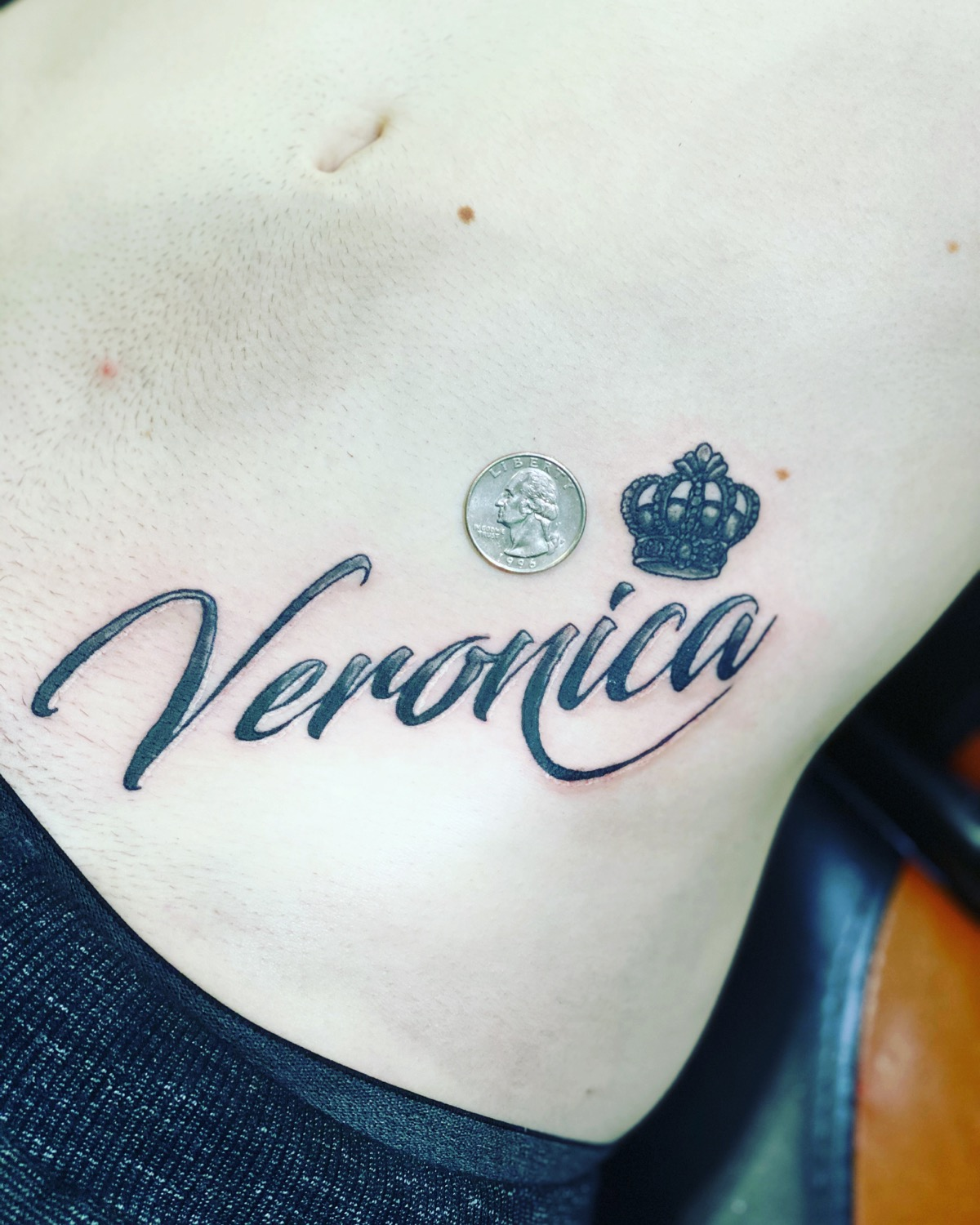 "Veronica tattoo with a crown over the "" C and A"""