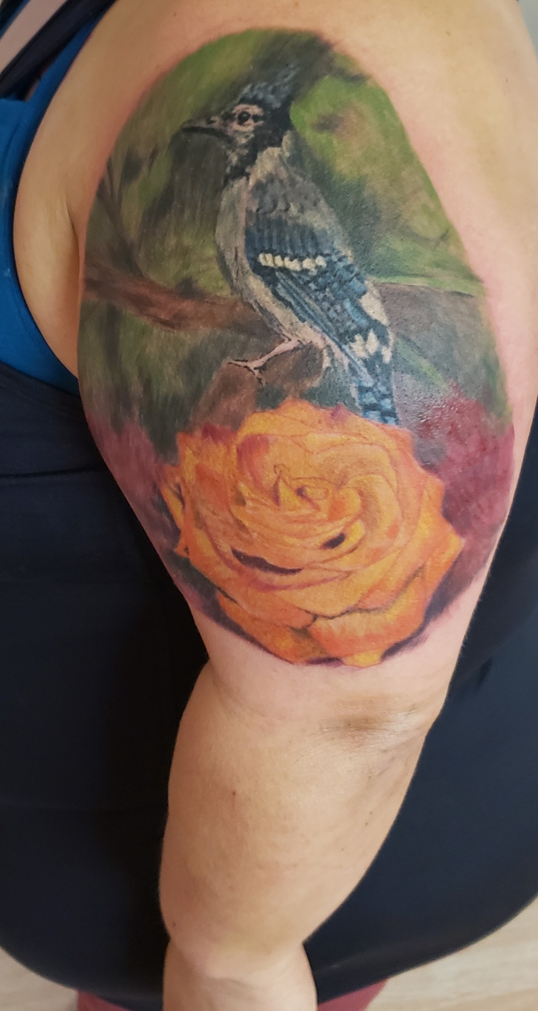Painterly style blue jay rose tattoo