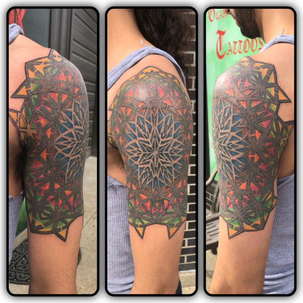 Sacred geometry color tattoo