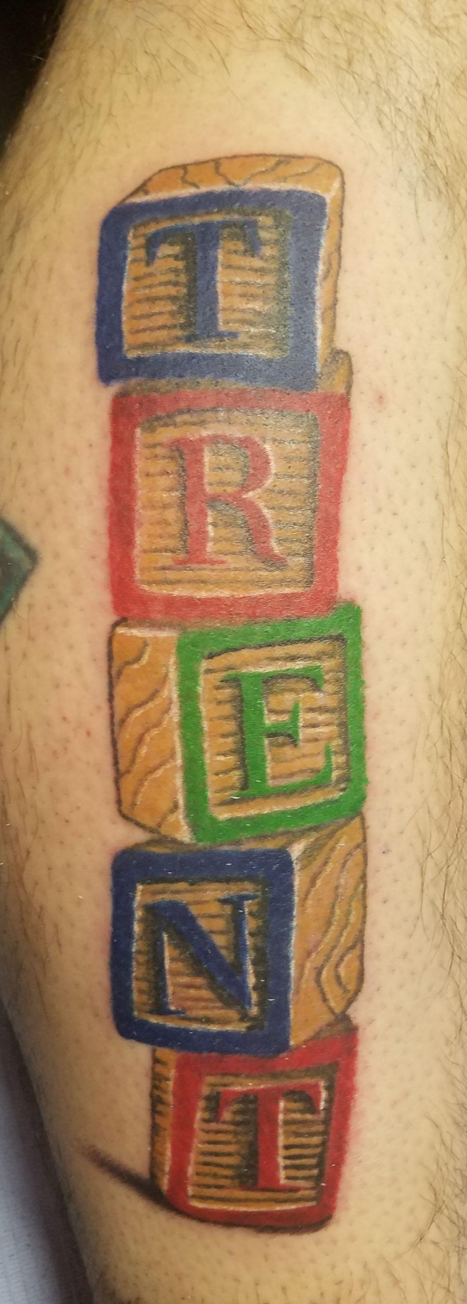 child letter blocks tattoo