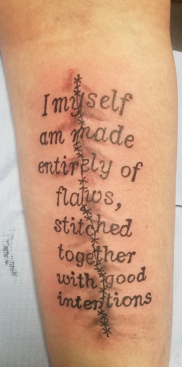 awesome quote tattooed on forearm