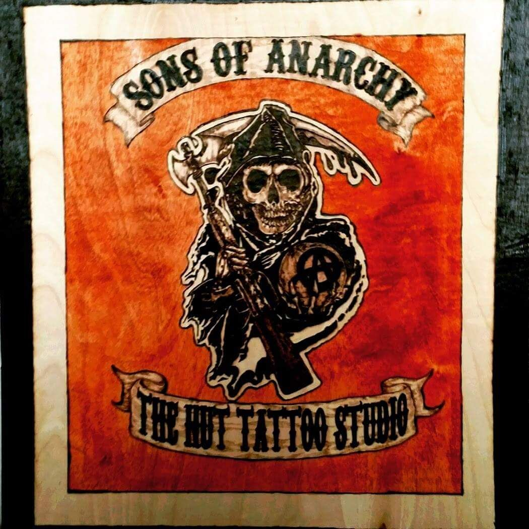 wood burning of Sons of Anarchy