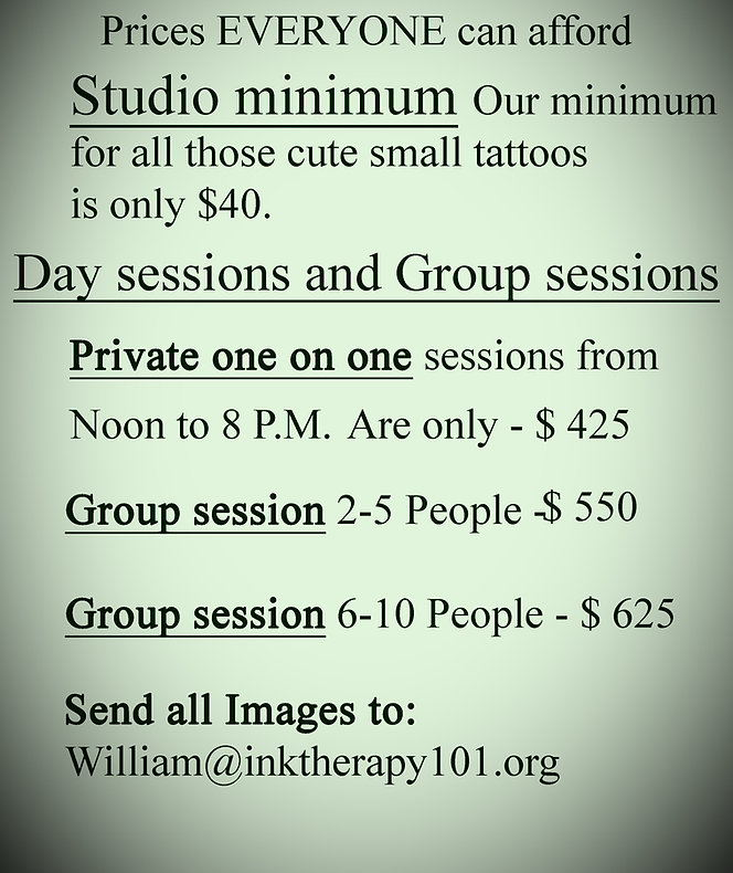 pricing for tattoo services