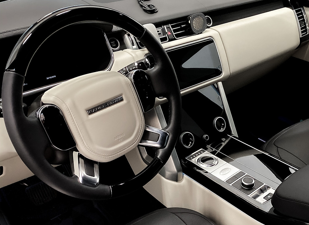 Interior detail on white range rover