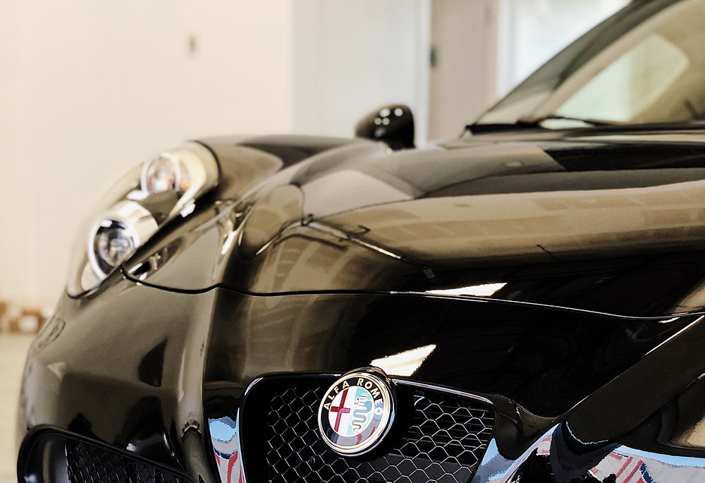 glossy ceramic coating on black alfa romeo