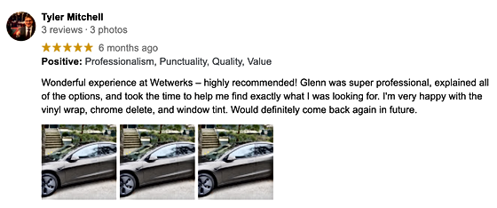 Wetwerks Auto Spa - Google Review - Tyle