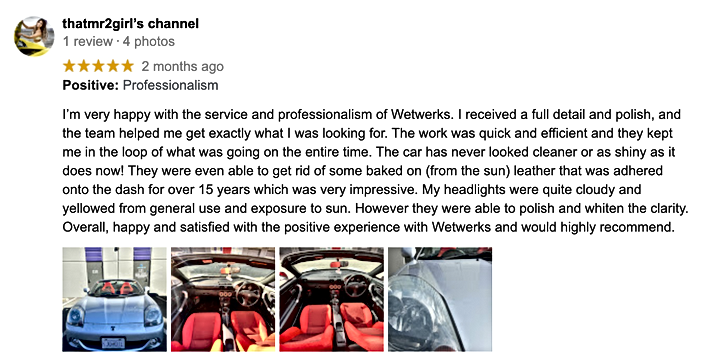 Wetwerks Auto Spa - Google Review - That