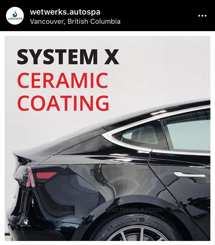 system x ceramic coating instagram picture and link from wetwerks autospa vancouver
