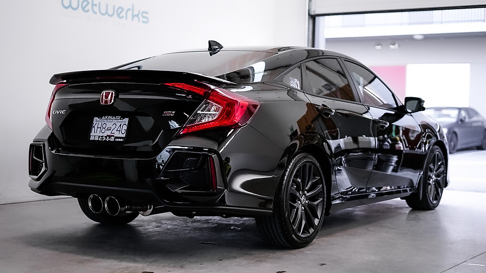 Black Honda Civic | Ceramic Coating vs. Paint Protection Film (PPF) - Wetwerks Auto Spa Vancouver
