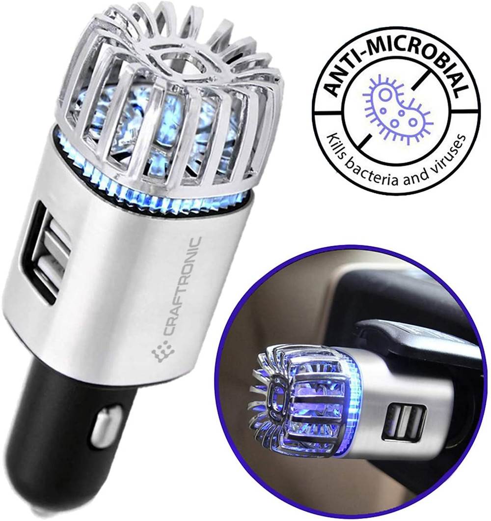 Craftronic® NanoActive™   Car Air Purifier & Dual Fast Charge USB   5.6 Million Negative Ion Anti-Microbial, Eliminates PM 2.5 Smoke, Pollutants, Virus, Bacteria, Odors   Relieve Allergy (Silver)
