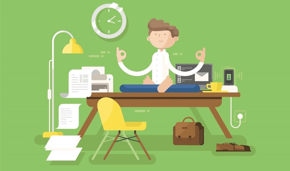 A cartoon of a man sat on a desk meditating