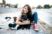 Girl with Dogs
