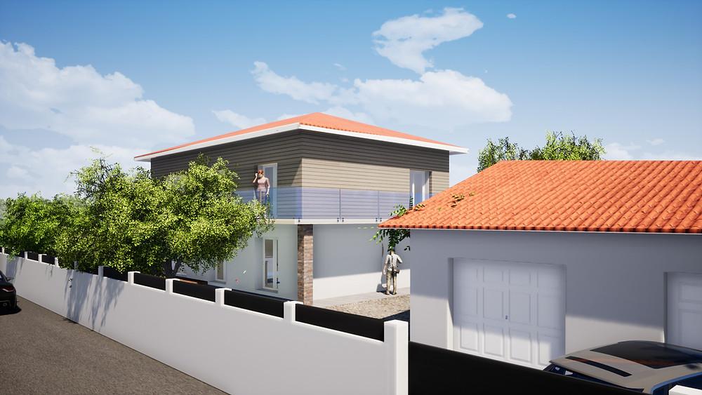 Modification de façades avec isolation par l'extérieur de maison à Biscarrosse