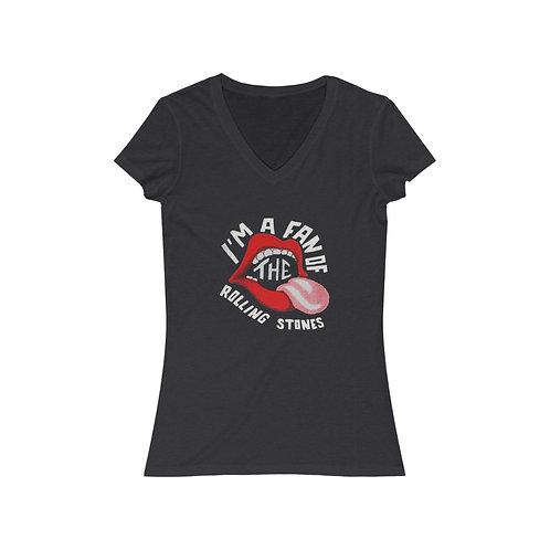 I'm A Fan Women's Jersey Short Sleeve V-Neck Tee