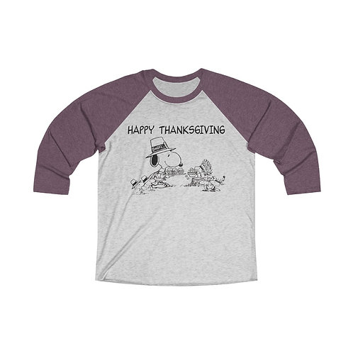 Happy Thanksgiving Tri-Blend 3/4 Raglan Tee