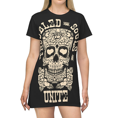 Troubled Souls All Over T-Shirt Dress