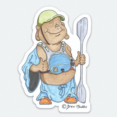 Kayaking Buddha Sticker