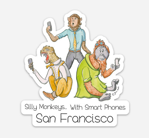 Silly Monkeys.. With Smart Phones Sticker