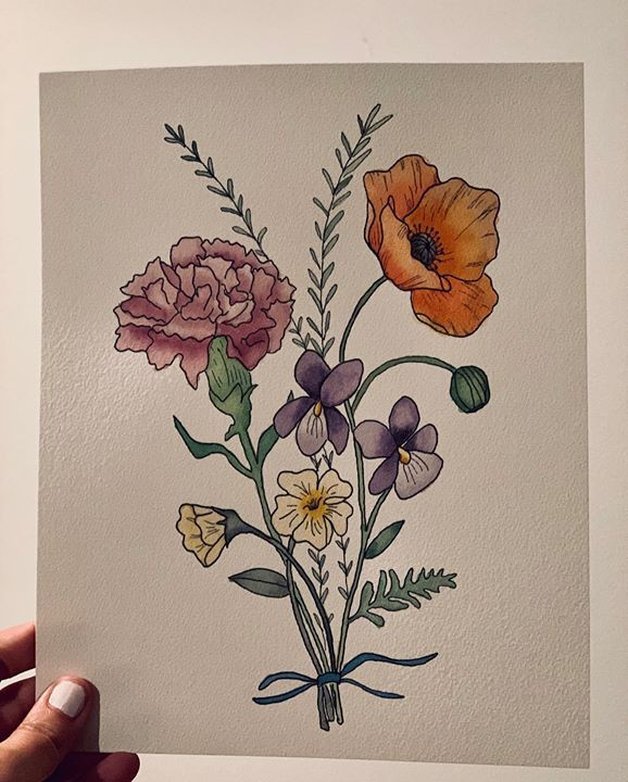 Birthflower Bouquet Sketch