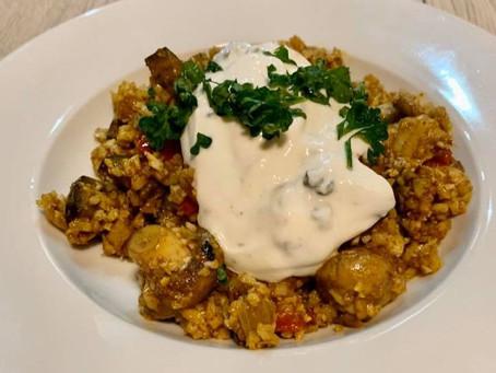 Groenten curry met bloemkool rijst