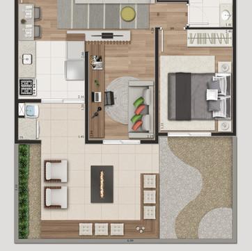 Tipologia 2 - 58,65 m² e 62,30 m² opção garden