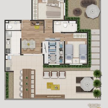 Tipologia 3 - 101,98 m², 107,17m² e 111,70m² opção garden