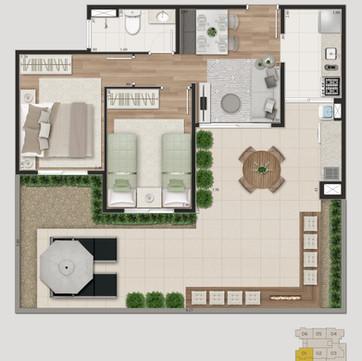 Tipologia 1 - 74,84 m² e 79,66 m² opção garden