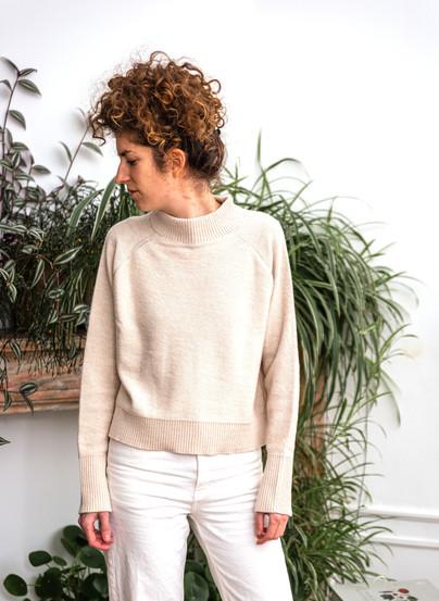 Women sweater white - 100% alpaca