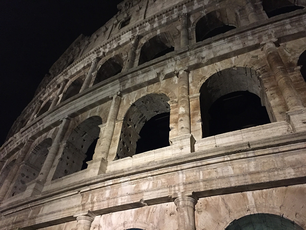 Roman Colosseum Exterior at Night