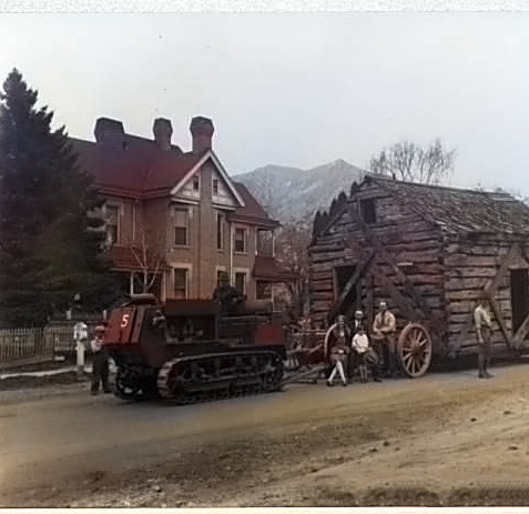 Moving Knudson Cabin to Pioneer Park - c1929