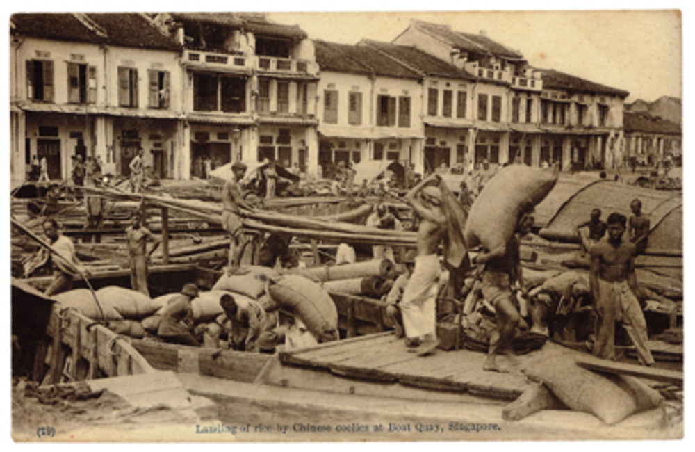 Chinese coolies working at Boat Quay. Photo source: Singapore Philatelic Museum, Donated by Prof Cheah Jin Seng.