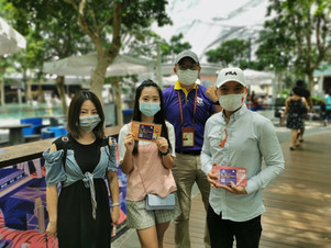 Group of friends on chinese speaking tour at Changi Airport