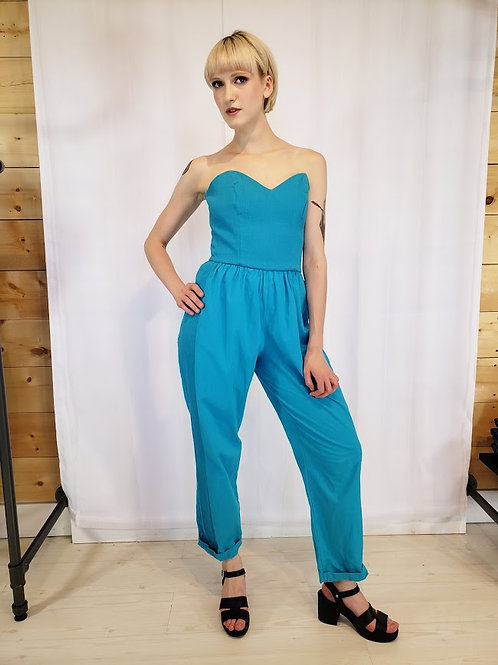 80's Turquoise Strapless Jumpsuit