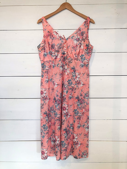 Vintage Peach Floral Dress