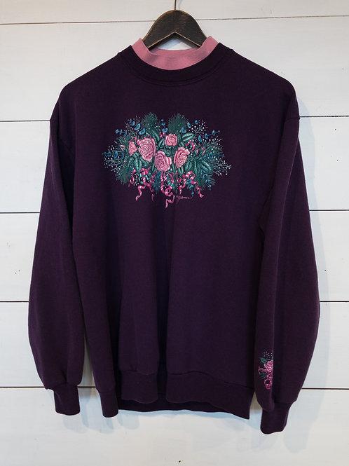 Purple Mock Neck Rose Sweatshirt