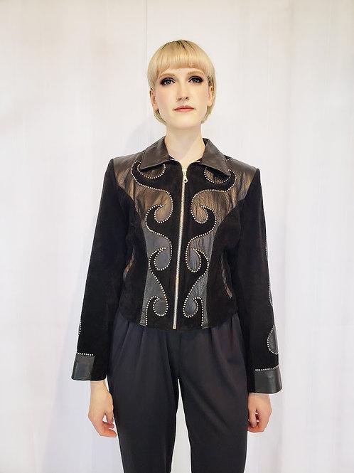 Black Leather Studded Bomber Jacket